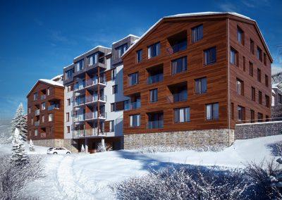 3D visualisering av boligkompleks i vintermotiv