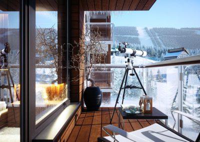 Hyper realistisk 3D visualisering med vintermotiv