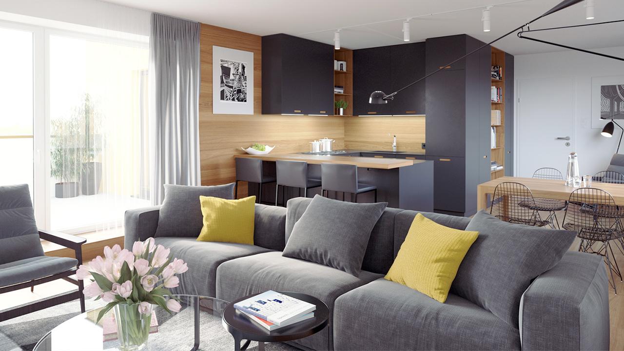Hyper realistisk 3D visualisering av moderne stue